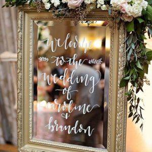 Welkomstbord spiegel